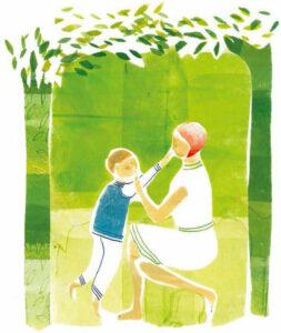 Illustrazione di una madre con bimbo in una foresta